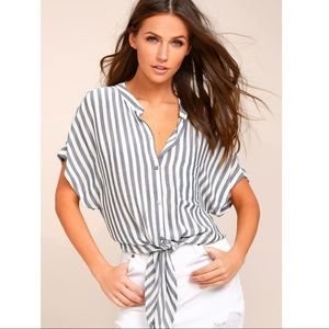 Lulus Grey and White Striped Tie Top
